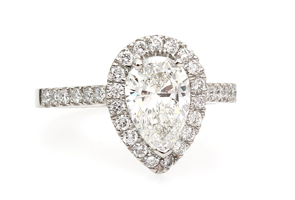 pear shaped diamond halo engagement ring 26480