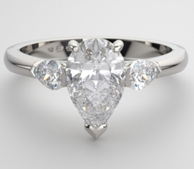 pear-shaped trilogy engagement ring