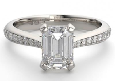 platinum emerald diamond engagement ring