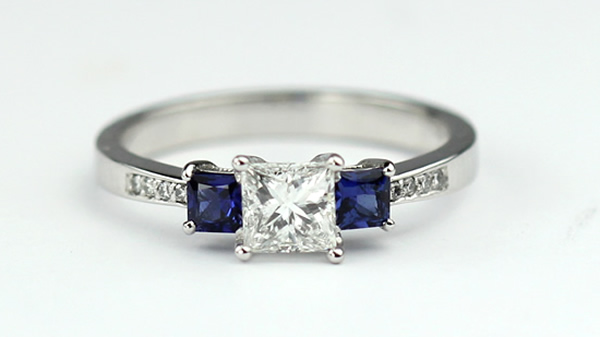 princess cut and sapphire ring