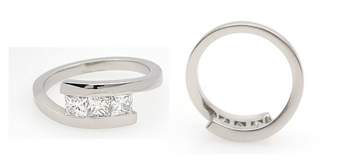princess cut crossover diamond engagement ring