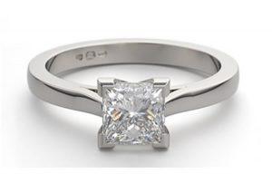 An example of a princess cut diamond ring