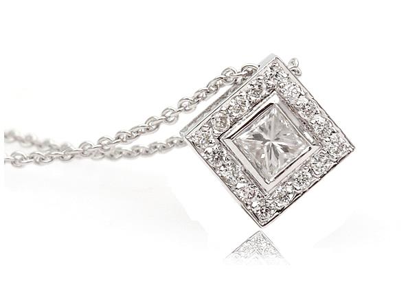 princess cut diamond hallo pendant
