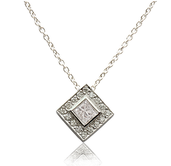princess cut diamond halo pendant