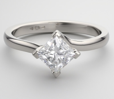 princess cut white gold engagement ring