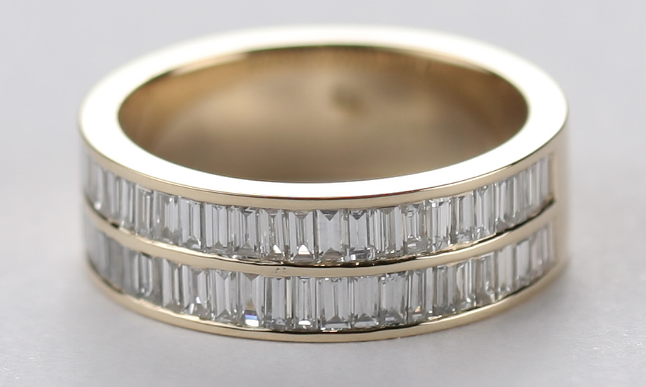 18 carat white gold double row baguette diamond wedding
