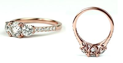 18ct rose gold diamond engagement ring with round brilliant cut diamond