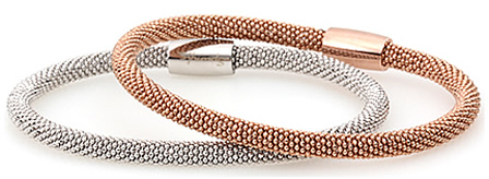 silver and rose gold plated silver bracelets