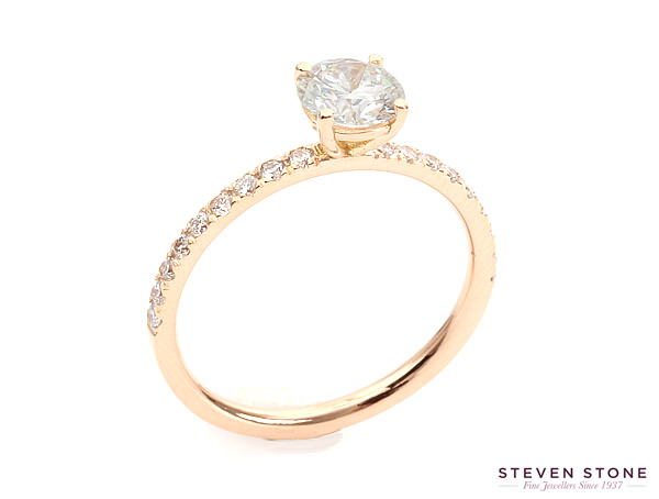 rose gold cut down set diamond engagement ring