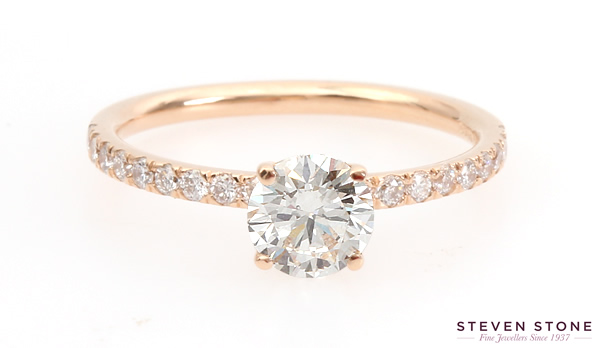 rose gold diamond cut down set ring