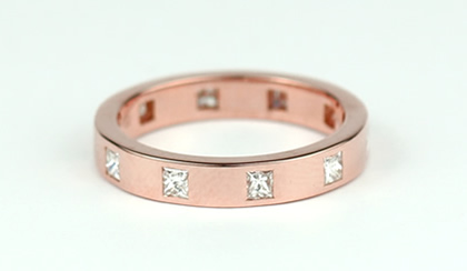 rose gold diamond set wedding ring