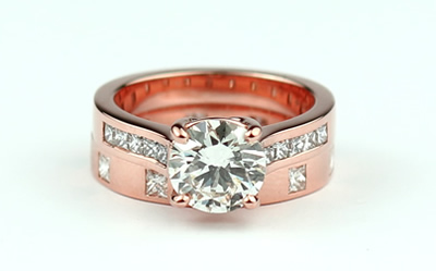 rose gold wedding and engagement ring set
