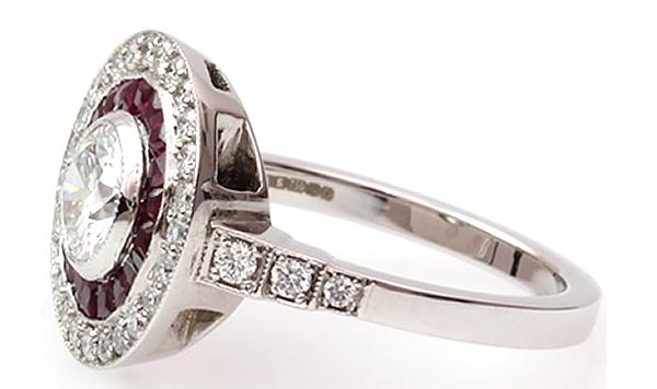 round diamond and ruby custom made ring