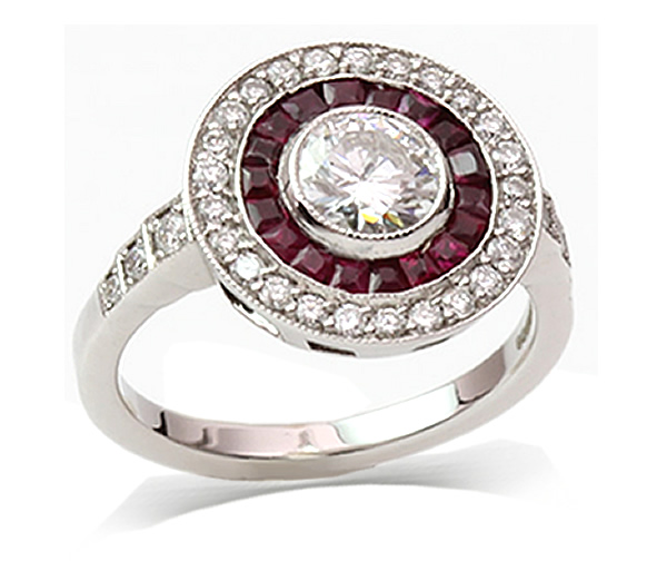 round diamond and ruby halo ring