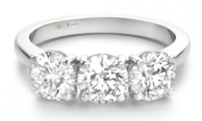 round diamond three stone engagement ri