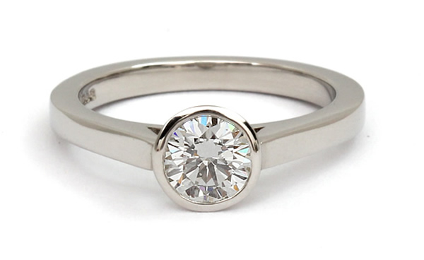 rub over diamond engagement ring settings