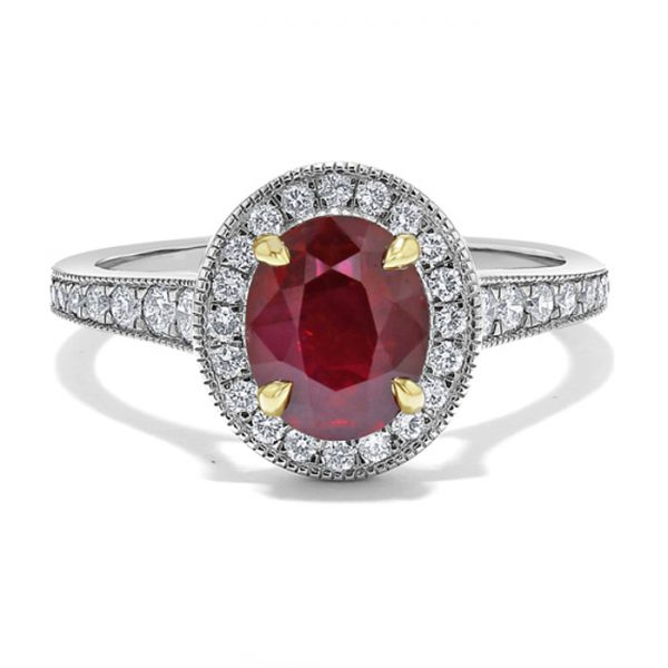 white and yellow gold ruby engagement ring trends