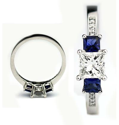 princess cut diamond and sapphire ring
