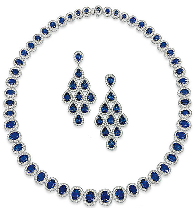 sapphire and diamond necklace with matching diamond and sapphire earrings