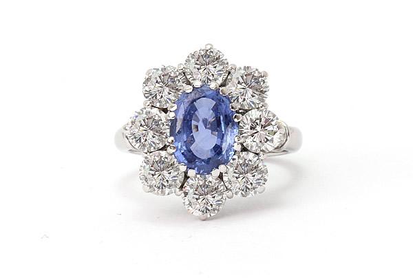 sapphire and diamond ring flower design