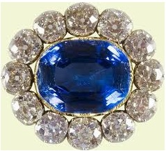 The Queens- Prince Albert Sapphire and Diamond Brooch up close