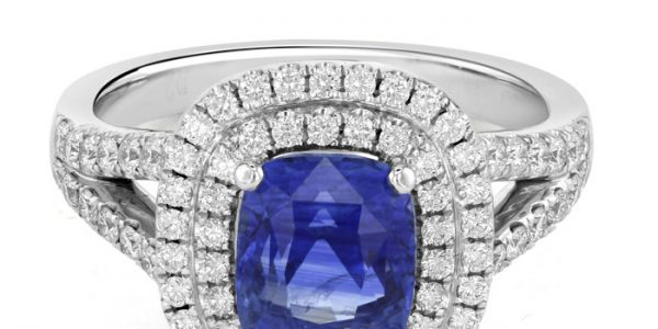 18ct White Gold Double Halo Sapphire Ring, £6195