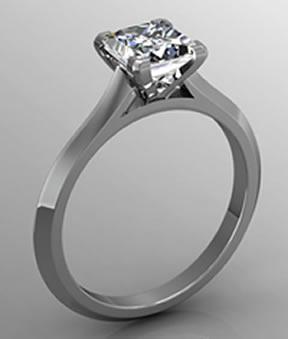 rendered princess cut engagement ring