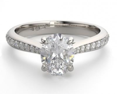 shoulder set oval diamond engagement ring