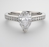 shoulder set pear-shaped engagement ring