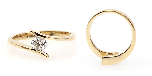 solitaire crossover diamond engagement ring