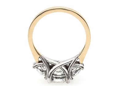 three round diamond engagement ring