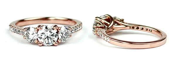 three stone diamond rose gold engagement ring