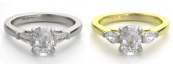 three stone oval engagement rings