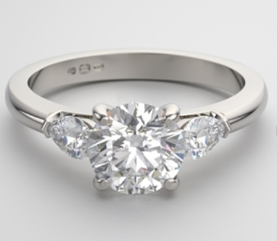 three stone white gold engagement ring