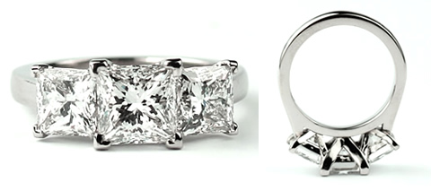 three princesss cut diamond engagement ring