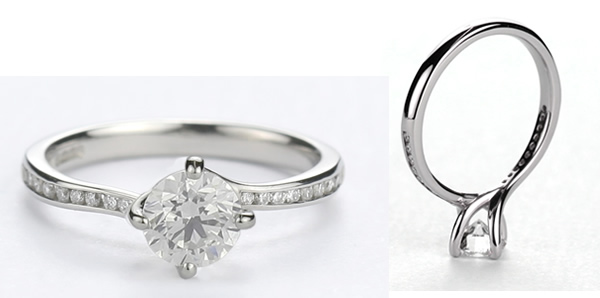 twist setting engagement ring with diamond set shoulders