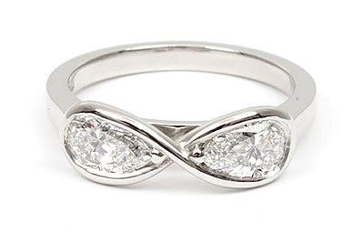 two pear shaped diamond ring