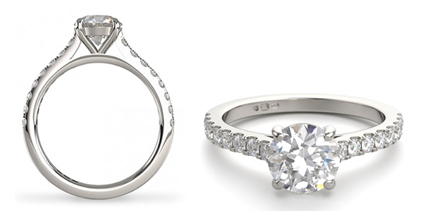 wedfit engagement ring with diamond set shoulders