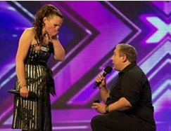 x factor marriage proposal on stage infront of audience and judges