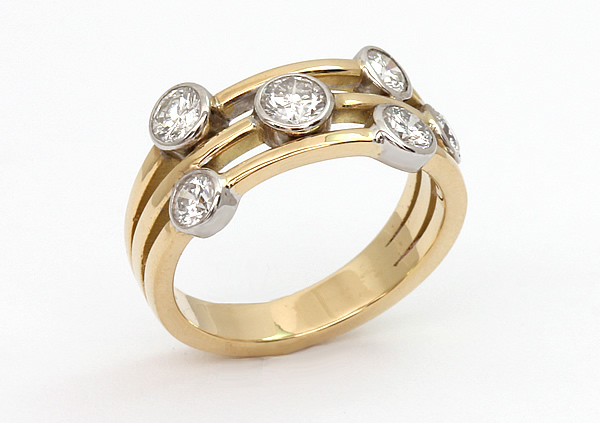 yellow and white gold diamond cluster ring