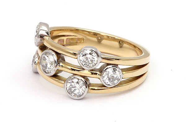 yellow and wg diamond cluster ring2