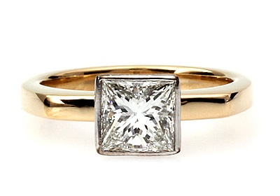 bespoke princess cut diamond engagement ring
