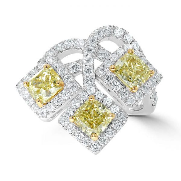 3 stone white gold yello and white diamond engagement ring trends