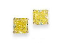rare fancy vivid yellow diamond earrings