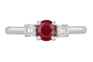 A white gold engagement ring with a ruby as the centre stone