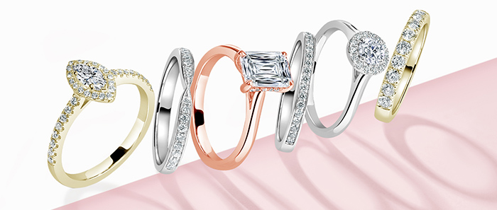 A collection of stunning engagement rings in various setting styles and metals