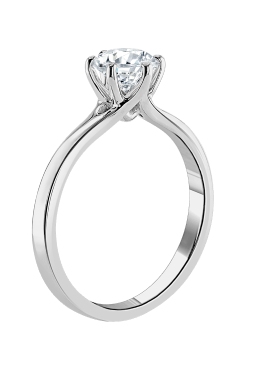 A side view of an engagement ring set in platinum