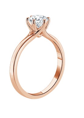 A rose gold engagement ring