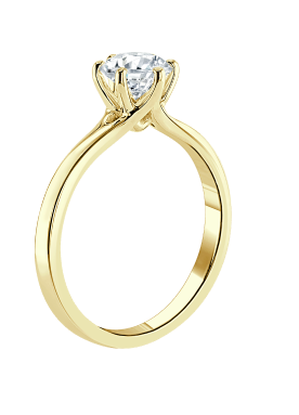A yellow gold engagement ring